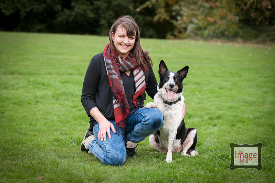 Border Collie dog with owner portrait, at the Image Mill, by pet photographer Phill Andrew