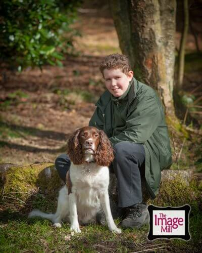 Boy with Springer Spaniel dog in the woods, portrait, at the Image Mill, by pet photographer Phill Andrew